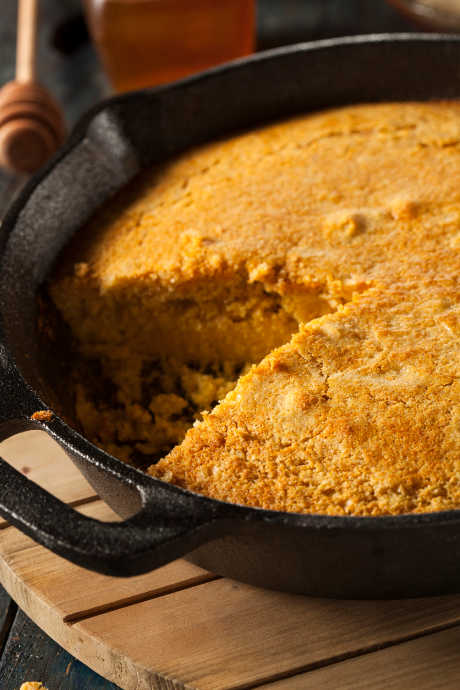 Southern Cornbread: One factor remains constant in the South: Whether you're making corn pone or cornbread, it must be cooked in a screaming hot cast iron skillet.