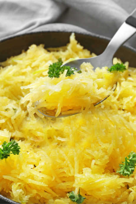 Spaghetti Squash: Just like spaghetti or angel hair pasta, you can serve spaghetti squash simply with salt, pepper, and butter, or top it with a light tomato sauce. You can also use it in place of many other ingredients.