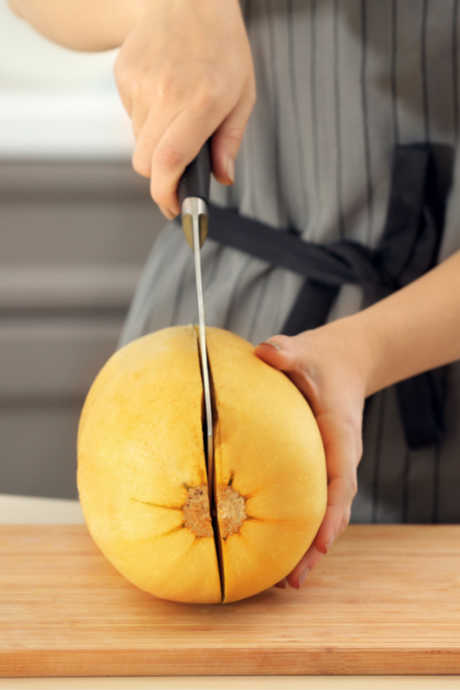 Spaghetti Squash: Use a large, sharp knife to cut the squash in half from stem end to blossom end. Then use a spoon to remove the seeds and pulp.