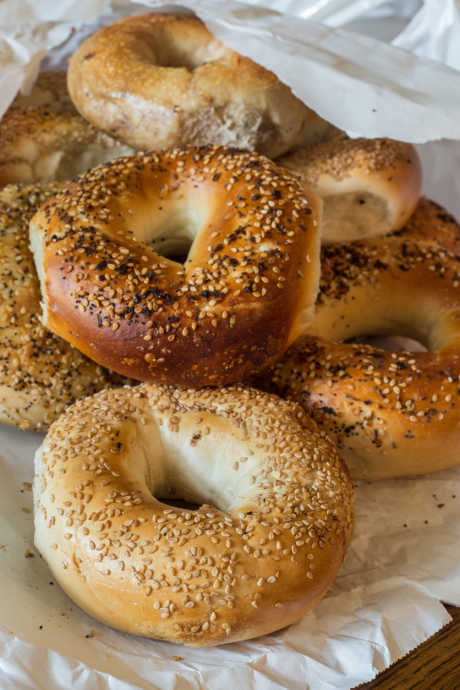 Homemade Bagels: Bake them plain, or brush them with egg white wash and sprinkle them with seeds.