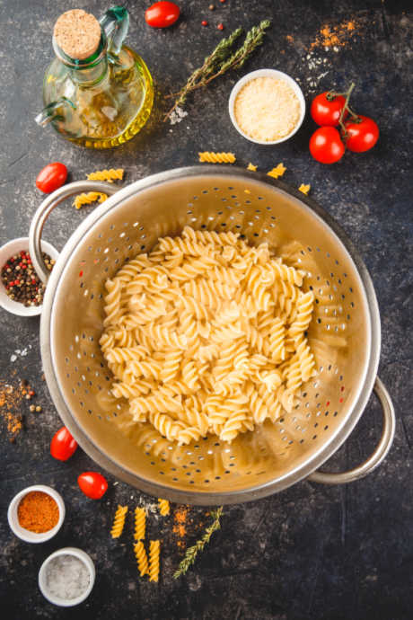 In pasta salad, use short, small shapes that cook evenly and will combine well with your add-ins. Try rotini, fusilli, orecchiette, orzo, and penne.