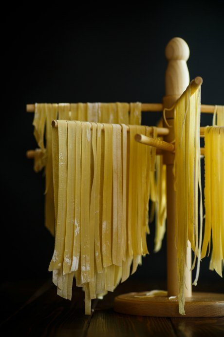 Homemade Pasta Dough: There isn't a right way to dry your pasta before cooking. With long strips or strands, you can curl them into nests or hang them from wooden dowels or even plastic hangers.