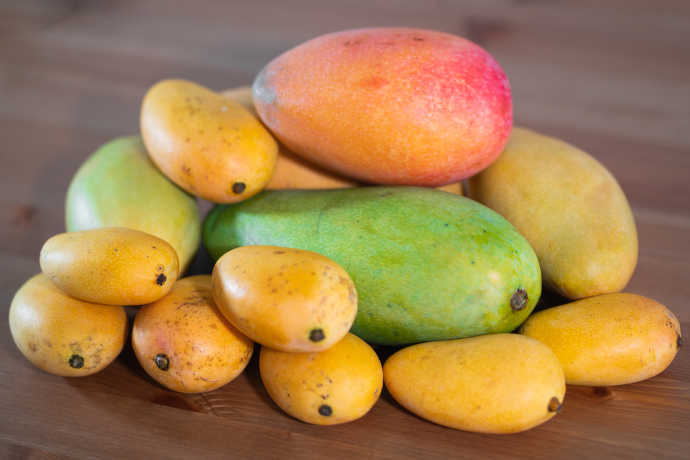 A wide variety of mangoes are available, though only a couple are usually found at supermarkets -- Ataulfo and Tommy Atkins mangoes.
