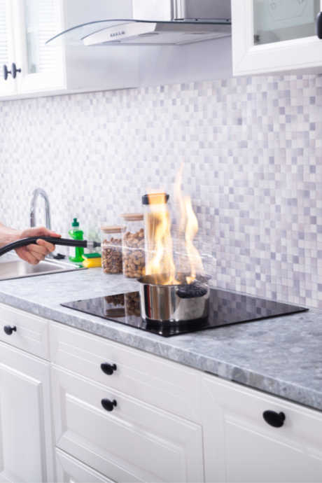 Kitchen Safety Tips: Buy a fire extinguisher for the kitchen and make sure it's rated for both grease and electrical fires.