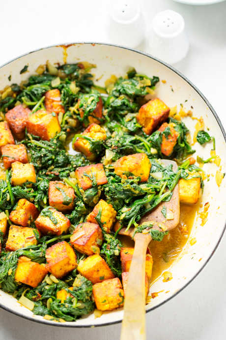 Saag Paneer: Make your own Indian cheese, season and fry it, and combine it with seasoned chopped spinach, either frozen or fresh.