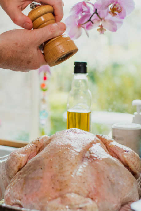 Dry Brine: Sprinkle the mixture of salt and baking soda over every surface of your turkey.