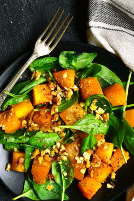 Spinach Salad With Roasted Vegetables and Apricots: Toss fresh baby spinach leaves with your choice of roasted vegetables and chopped dried apricots. Dress with homemade mustard walnut vinaigrette.