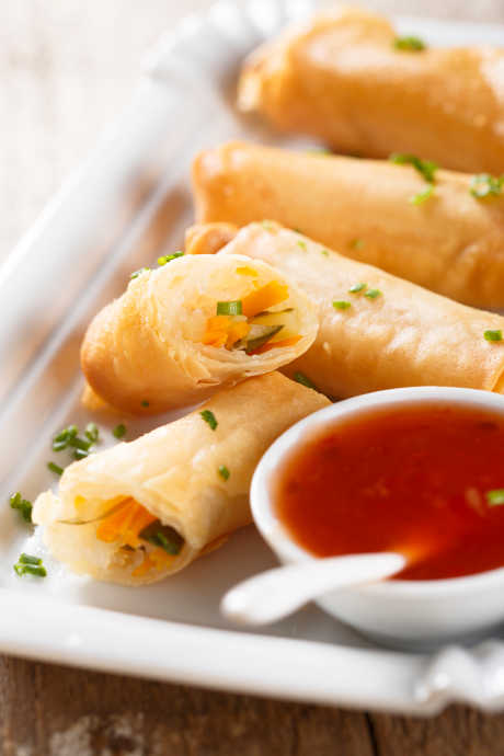 Asian Pork Recipes: These spring rolls include strips of stir-fried pork and heaping cups of cabbage.
